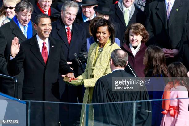 Barack H Obama is sworn in by Chief Justice John Roberts as the 44th president of the United Statesas the 44th President of the United States of...