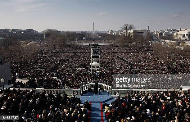 Barack H. Obama is sworn in by Chief Justice John Roberts as the 44th president of the United States on the West Front of the Capitol on January 20,...