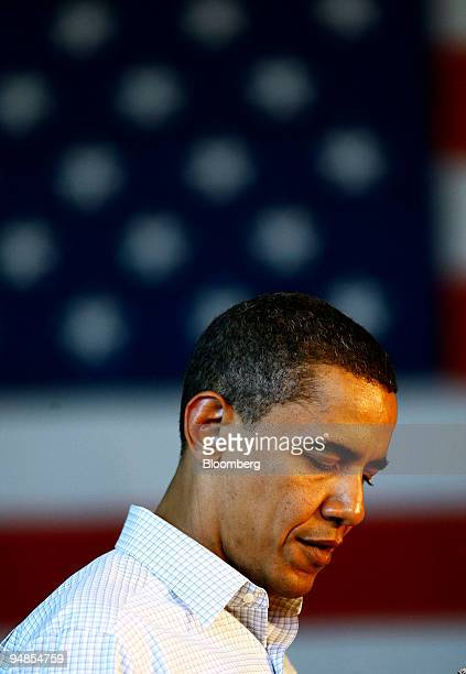 Barack Obama a US senator and 2008 Democratic presidential candidate pauses while speaking to supporters during a campaign event in Roseburg Oregon...