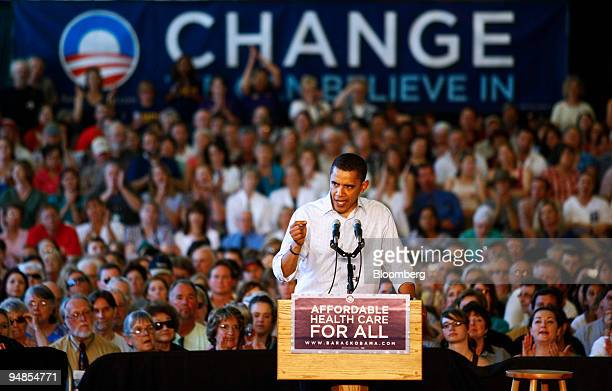 Barack Obama a US senator and 2008 Democratic presidential candidate speaks to supporters during a campaign event in Roseburg Oregon US on Saturday...