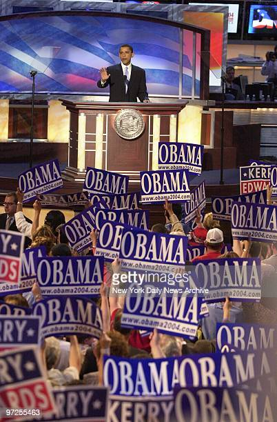Barack Obama an Illinois state senator running for the US Senate delivers the keynote speech on the second night of the Democratic National...