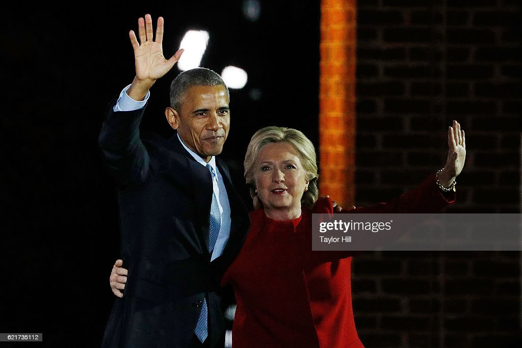 Barack Obama and Hillary Clinton attend 'The Night Before' campaign rally at Independence Hall on November 7, 2016 in Philadelphia, Pennsylvania.
