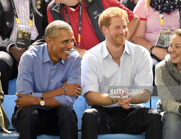 Barack Obama and Prince Harry attend the Basketball on day 7 of the Invictus Games Toronto 2017 at the Pan Am Sports Centre on September 29 2017 in...