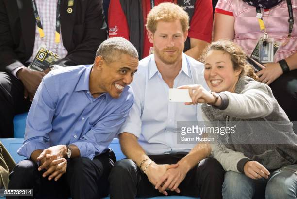 Barack Obama and Prince Harry pose for a photo at the wheelchair basketball on day 7 of the Invictus Games Toronto 2017 on September 29 2017 in...