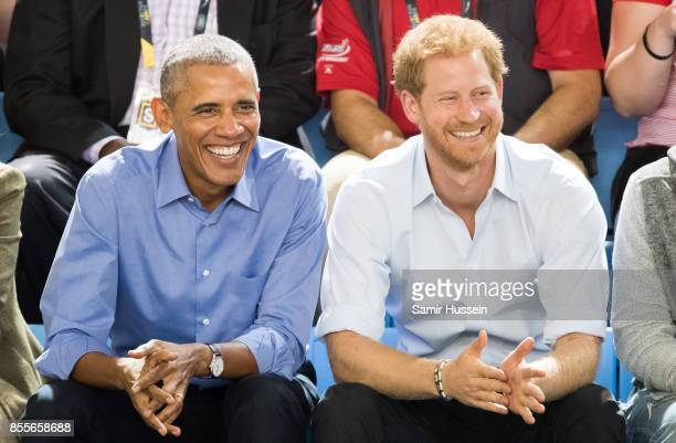 Barack Obama and Prince Harry watch the wheelchair basketball on day 7 of the Invictus Games Toronto 2017 on September 29 2017 in Toronto Canada The...