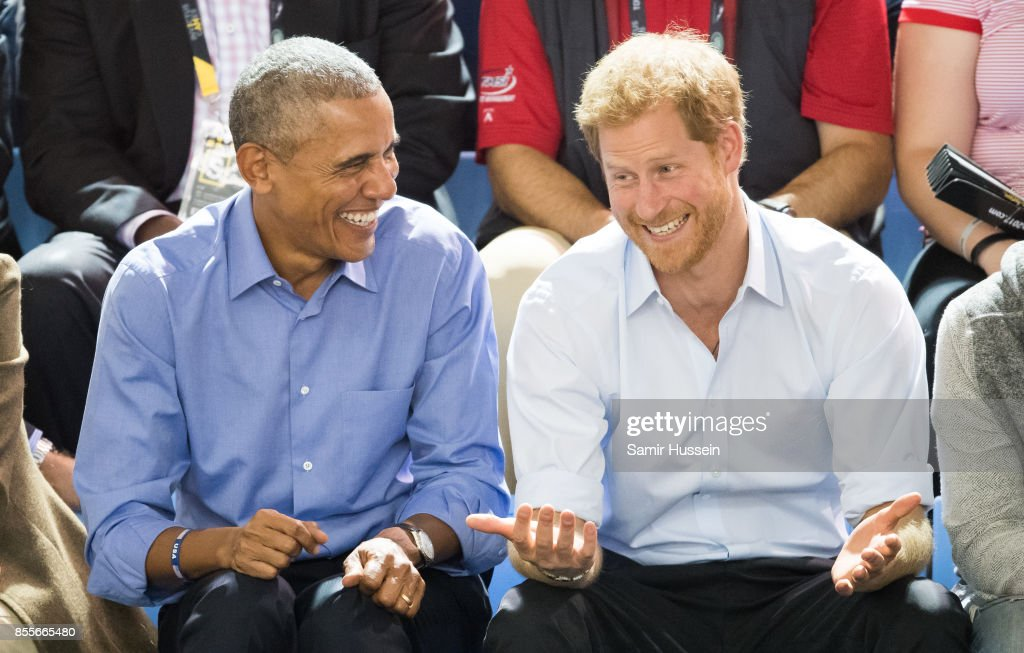 Barack Obama and Prince Harry watch the wheelchair basketball on day 7 of the Invictus Games Toronto 2017 on September 29, 2017 in Toronto, Canada. The Games use the power of sport to inspire recovery, support rehabilitation and generate a wider understanding and respect for the Armed Forces.