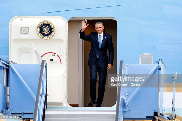 Barack Obama arriving at Munich Airport with Air Force One G7 Summit Germany Munich Airport Munich Germany June 7 2015 ��Kurt Krieger