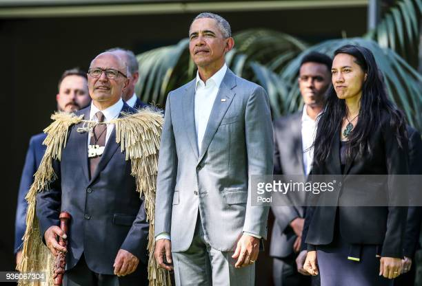 Barack Obama attends a powhiri at Government House on March 22 2018 in Auckland New Zealand It is the former US president's first visit to New...
