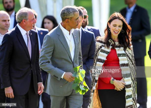 Barack Obama attends a powhiri with New Zealand Prime Minister Jacinda Ardern at Government House on March 22 2018 in Auckland New Zealand It is the...