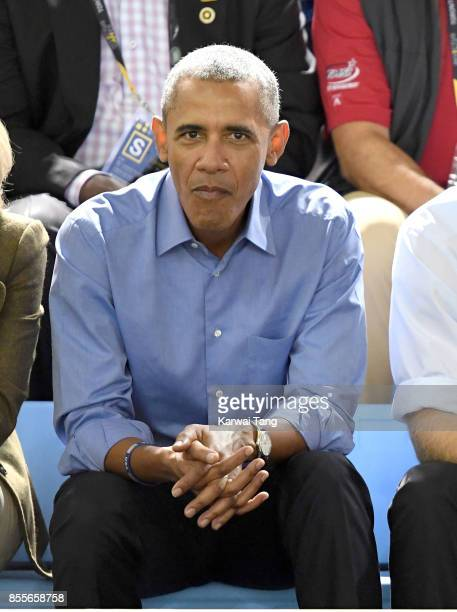 Barack Obama attends the Basketball on day 7 of the Invictus Games Toronto 2017 at the Pan Am Sports Centre on September 29 2017 in Toronto Canada...
