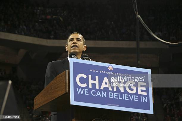 Barack Obama Campaign -- Pictured: Senator Barack Obama speaks at a rally after winning primaries in Virginia, Maryland and the District of Columbia...