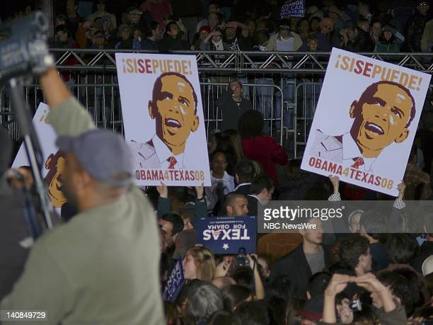 NBC NEWS Barack Obama Campaign Pictured Supporters during Senator Barack Obama's campaign for the Democratic nomination in Austin Texas on February...