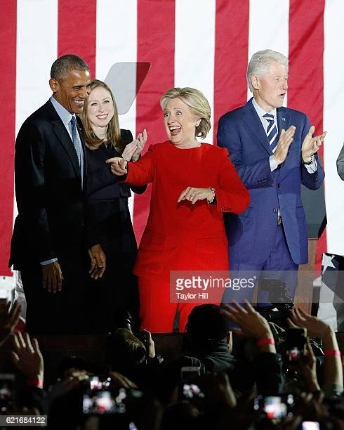 Barack Obama Chelsea Clinton Hillary Clinton and Bill Clinton embrace at 'The Night Before' rally at Independence Hall on November 7 2016 in...
