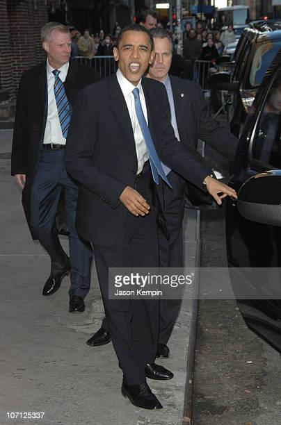 """Barack Obama during Halle Berry and Barack Obama Visit """"The Late Show With David Letterman"""" - April 9, 2007 at The Ed Sullivan Theater in New York..."""