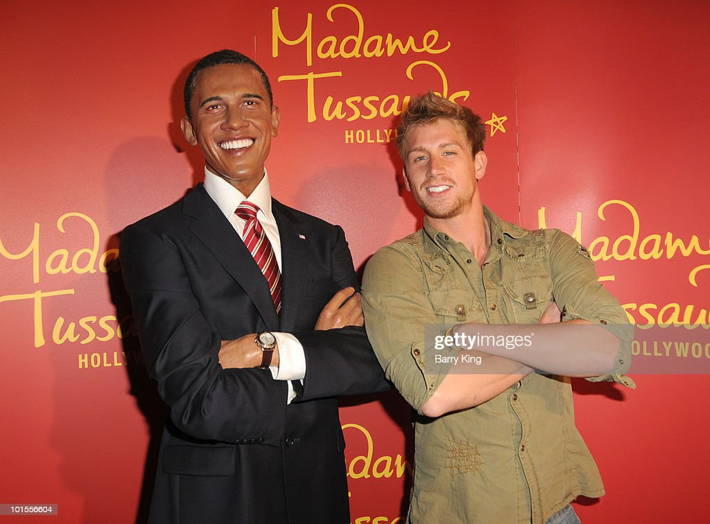 Barack Obama figure and actor Ryan McIntyre at the Official Los Angeles Event Celebrating Harvey Milk Day at Madame Tussaud's Hollywood on May 22, 2010 in Hollywood, California.