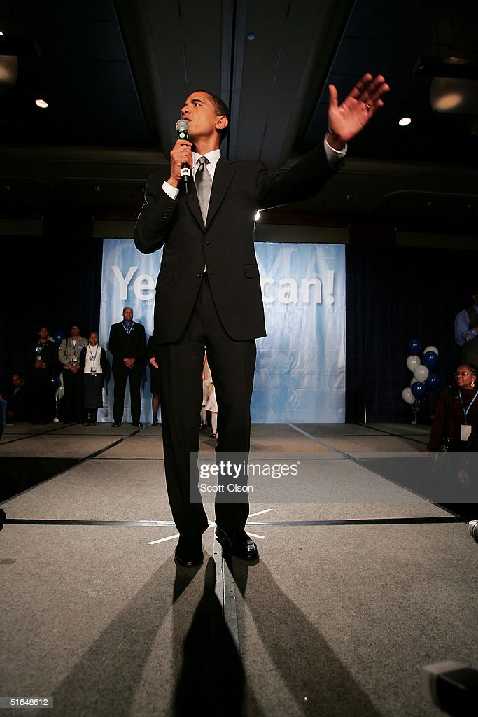 Barack Obama greets supporters following his victory over Republican rival Alan Keyes November 2, 2004 in Chicago, Illinois.