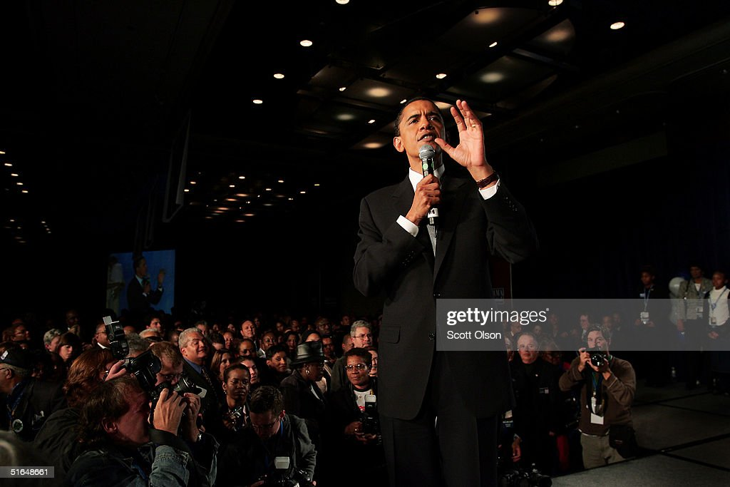 Barack Obama greets supporters following his victory over Republican rival Alan Keyes for U.S. Senate November 2, 2004 in Chicago, Illinois.