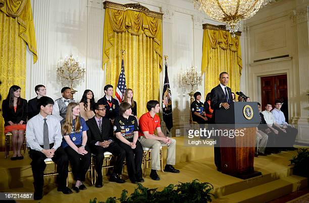 Barack Obama hosts the White House Science Fair celebrating student winners of a range of science technology engineering and math competitions from...