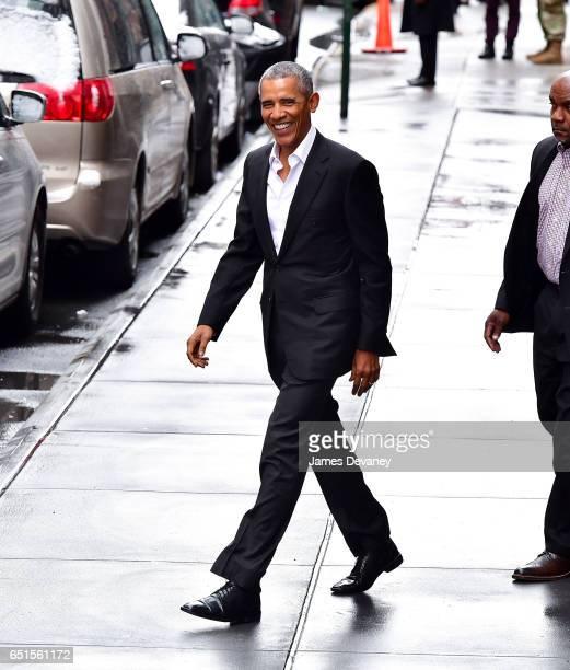 Barack Obama leaves Upland restaurant on March 10 2017 in New York City