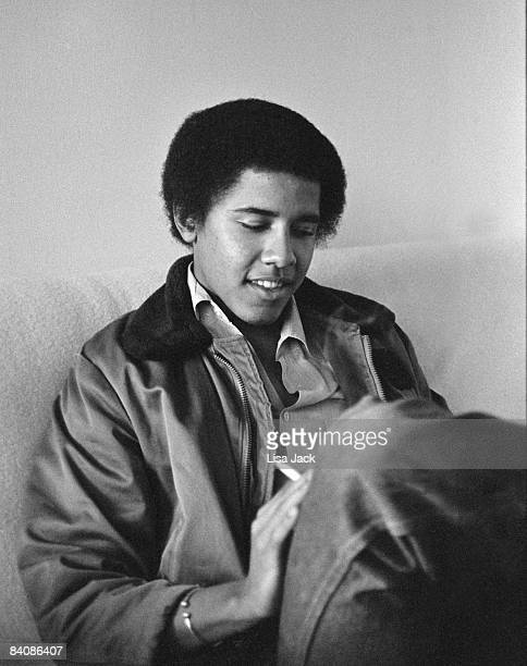 Barack Obama poses for a portrait session taken while he was a student in 1980 at Occidental College in Los Angeles CA NOT USED IN TIME MAGAZINE