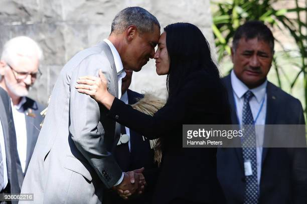 Barack Obama receives a Maori hongi during a powhiri at Government House on March 22 2018 in Auckland New Zealand It is the former US president's...