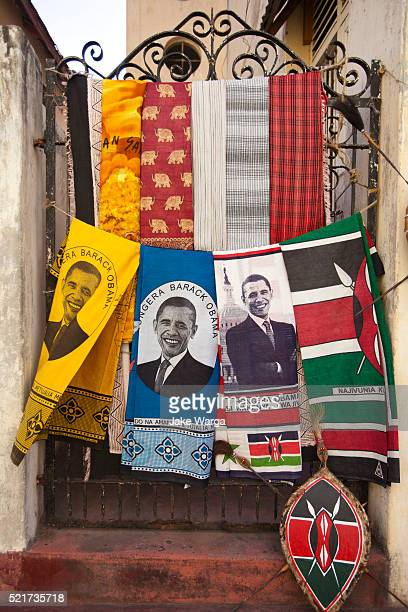 barack obama souvenir cloth for sale in mombasa - kenyan flag stock pictures, royalty-free photos & images