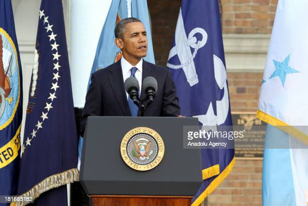 Barack Obama the President of US speaks at the memorial for the Navy Yard attack victims of September 16th on September 22 2013 in Washington DC 13...