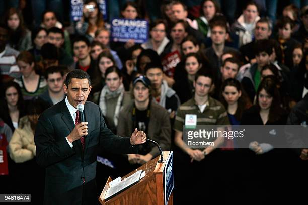 Barack Obama, U.S. Presidential candidate and Democratic Senator from Illinois, speaks during a campaign stop in Hanover, New Hampshire, U.S., on...