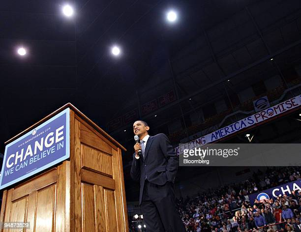 Barack Obama US senator from Illinois and 2008 Democratic presidential candidate speaks during a campaign rally in Columbus Ohio US on Wednesday Feb...