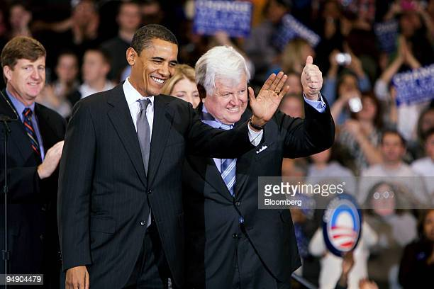 Barack Obama US senator from Illinois and 2008 Democratic presidential candidate left and Edward Kennedy US Senator from Massachusetts right...