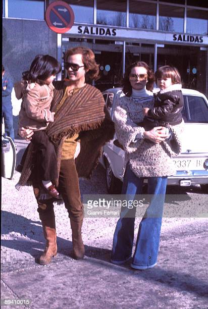 1978 Barajas airport Madrid Spain The singer Rocio Durcal and her husband Antonio Morales with their children