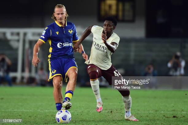 Barak Antonin of Hellas Verona compets for the ball with Amadou Diawara of AS Roma during the Serie A match between Hellas Verona FC and AS Roma at...