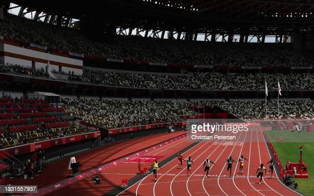 Barakat Al Harthi of Team Oman reacts after winning the men's 100m heats on day eight of the Tokyo 2020 Olympic Games at Olympic Stadium on July 31,...