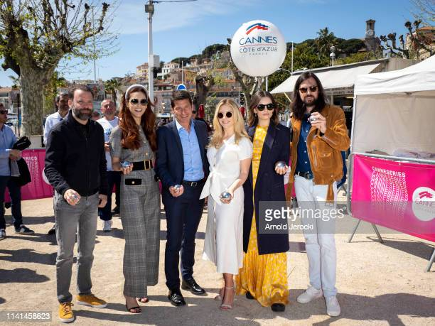 Baran Bo Odar, Miriam Leone, David Lisnard, Katheryn Winnick, Emma Mackey and Robin Coudert attends a petanque contest on day five of the 2nd...