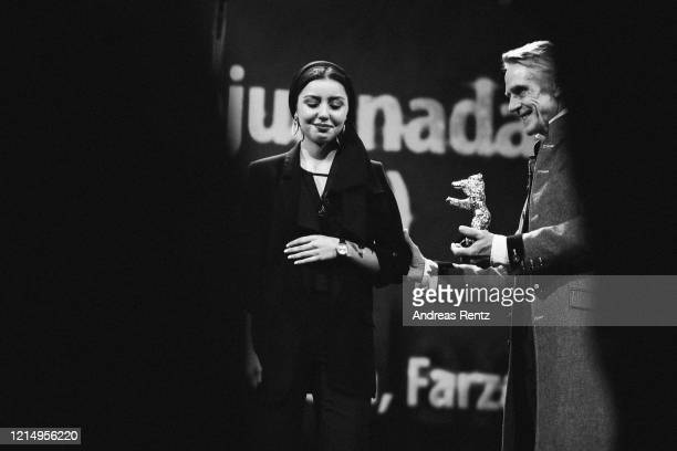 """Baran Rasoulof receives the Golden Bear for Best Film for the film """"There Is No Evil"""" on behalf of her father, absent Iranian director Mohammad..."""
