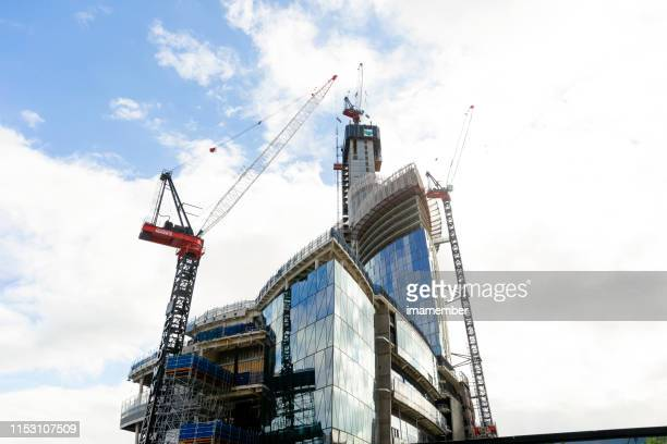 Barangaroo construction site of Crown casino, sky background with copy space