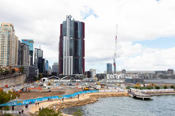 Barangaroo construction site, Sydney Australia, background with copy space
