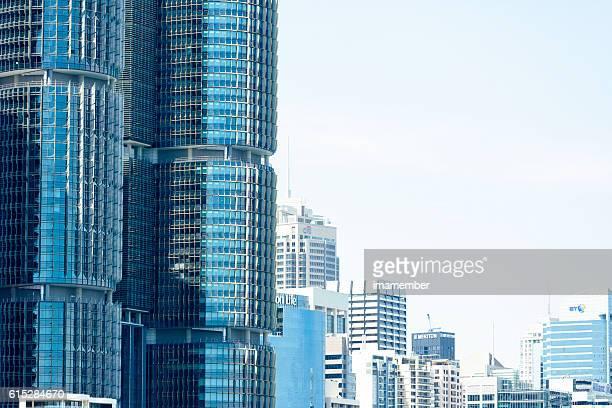 Barangaroo skyscrapers and Darling Harbour, Sydney Australia, copy space