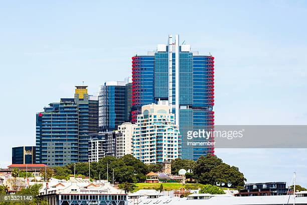 Barangaroo with skyscrapers and park, view from ferry, copy space