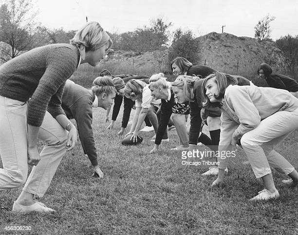 Barat College's touch football team lines up in practice on Oct 13 days before they were to play St Mary's of Notre Dame at the University of Notre...