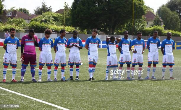 Barawa Team shoot during Conifa Paddy Power World Football Cup 2018 Group A match between Barawa against Ellan Vannin at Coles Park Stadium London on...
