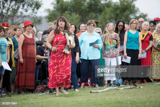Baraya Sing Up Country is performed by local choirs at the Wugulora Morning Ceremony at Barangaroo on January 26 2018 in Sydney Australia Australia...