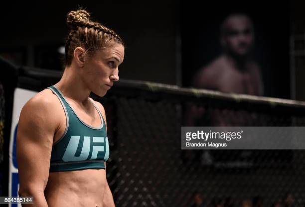 Barb Honchak enters the Octagon before facing Gillian Robertson during the filming of The Ultimate Fighter A New World Champion at the UFC TUF Gym on...