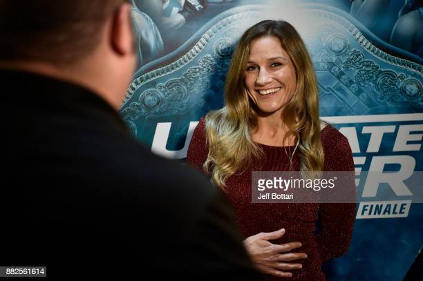 Barb Honchak interacts with the media during the TUF Finale Media Availability at Monte Carlo Conference Center on November 29 2017 in Las Vegas...