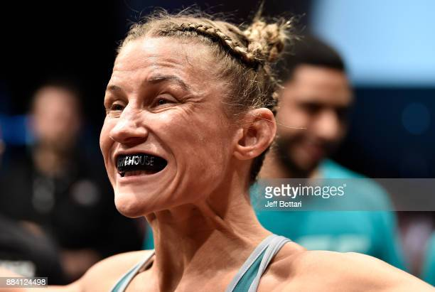 Barb Honchak prepares to face Lauren Murphy in their women's flyweight bout during the TUF Finale event inside Park Theater on December 01 2017 in...