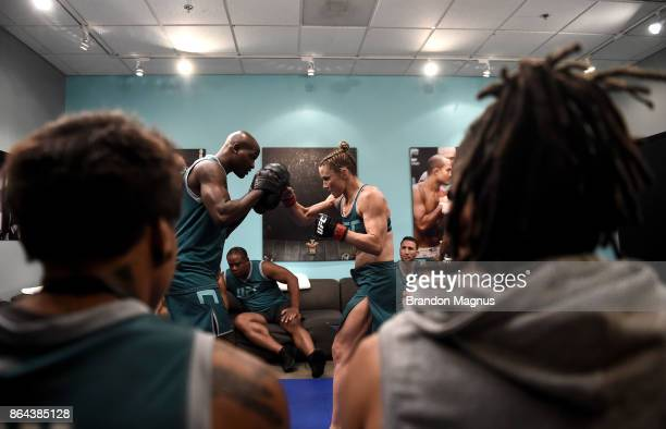 Barb Honchak warms up before facing Gillian Robertson during the filming of The Ultimate Fighter A New World Champion at the UFC TUF Gym on July 31...