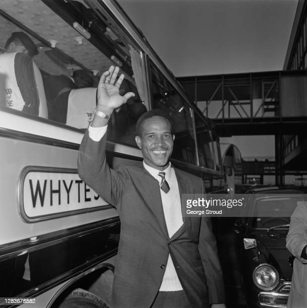 Barbadian cricketer Garfield Sobers, aka Gary, captain of the West Indies cricket team, arrives at London Airport, UK, 17th April 1966.