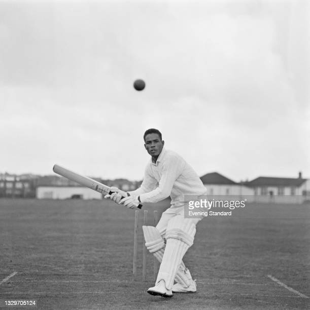 Barbadian cricketer Keith Boyce of Essex County Cricket Club, UK, 29th April 1965.