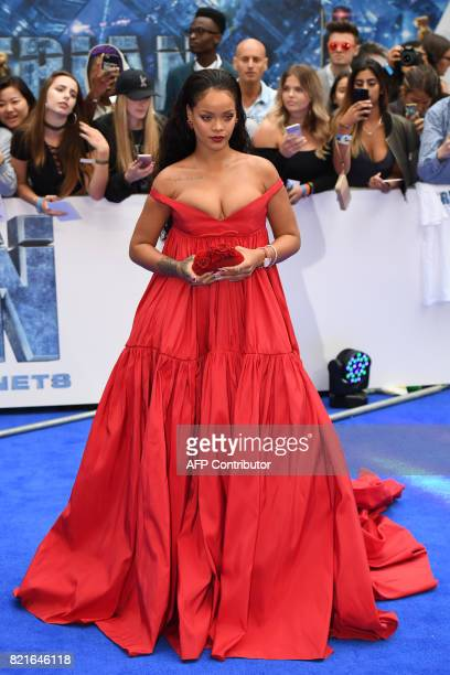 Barbadian singer and actress Rihanna poses for a photograph upon arrival for the European premiere of 'Valerian and The City of a Thousand Planets'...