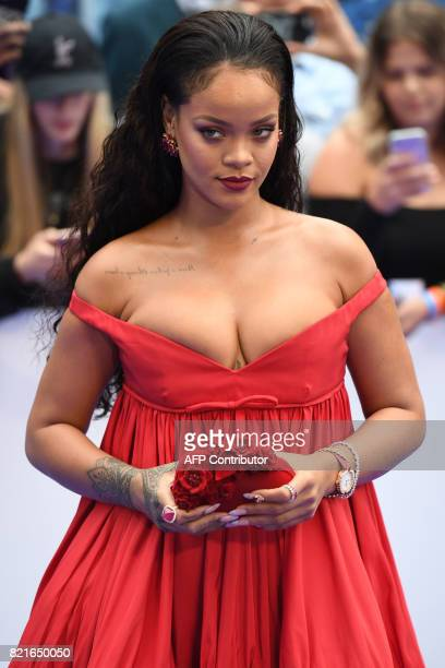 Barbadian singer and actress Rihanna poses for a photograph upon arrival for the European premiere of Valerian and The City of a Thousand Planets in...